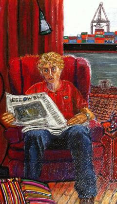 Der Rote Stuhl im Hamburger Hafen, ein Experiment in Öl