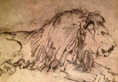 Door de grote meester Rembrandt met inkt vereeuwigd