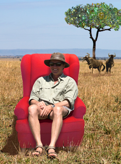 Squack Evans in the Red Chair on location in the Serengeti